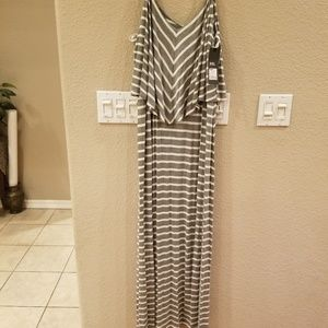 Mossimo Supply Co. Dresses - Gray & White Striped Maxi Dress
